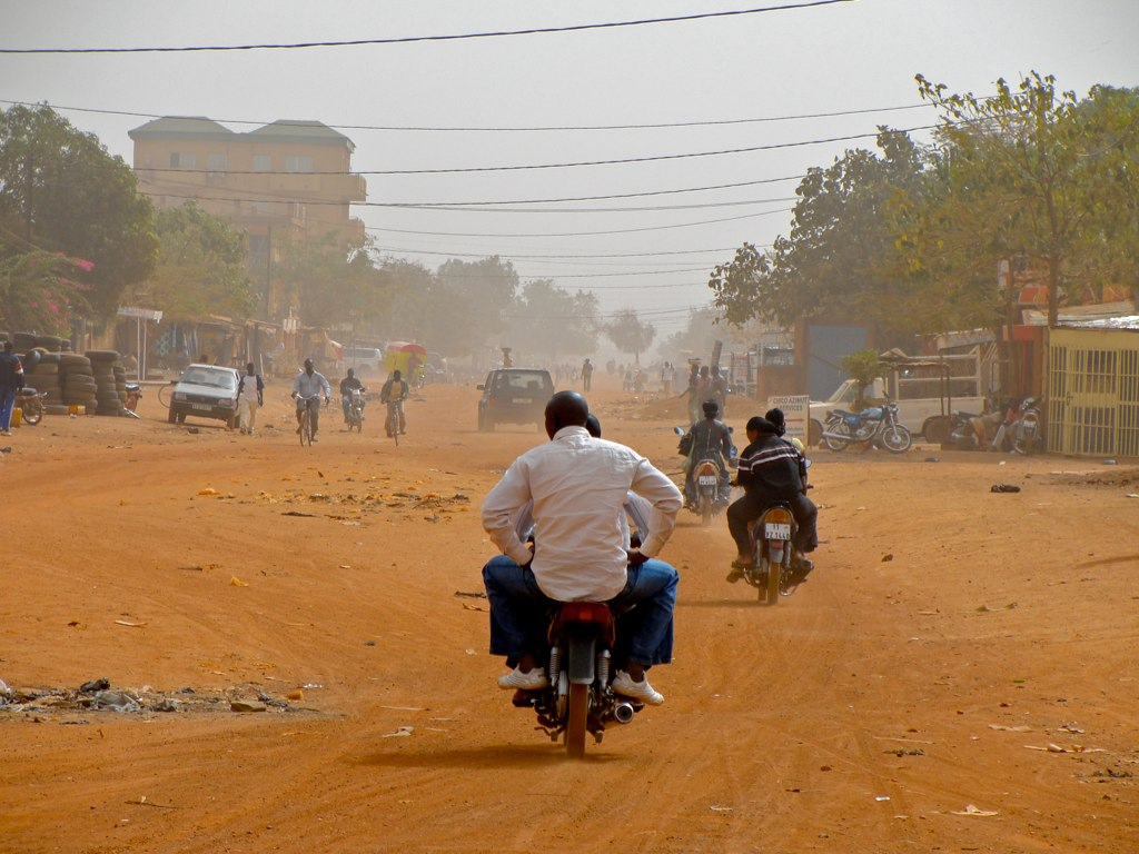 Dusty road in ouagadougou burkina faso 2010